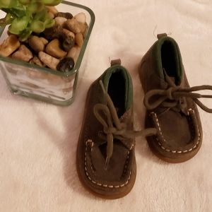 Baby GAP olive green suede s…